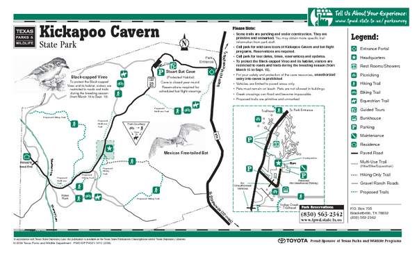 Kickapoo Cavern, Texas State Park Facility, Trail and Location Map