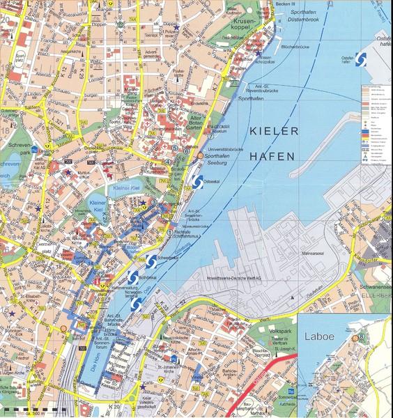 Kiel Tourist Map Kiel Germany mappery