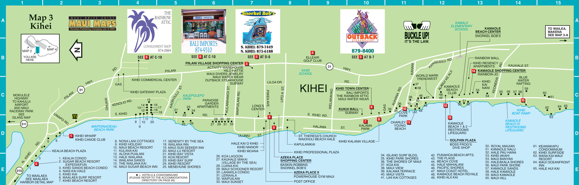 Kihei Map Kihei Maui HI US mappery – Tourist Map Of Maui