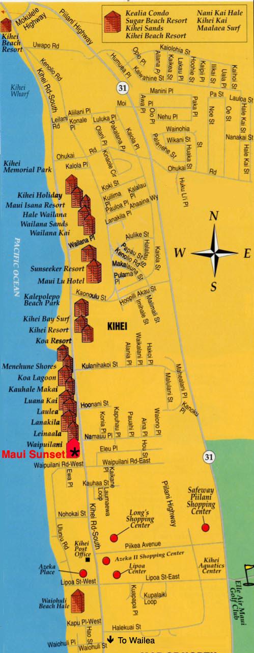 Kihei Resort Map Kihei mappery