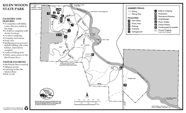 Kilen Woods State Park Summer Map