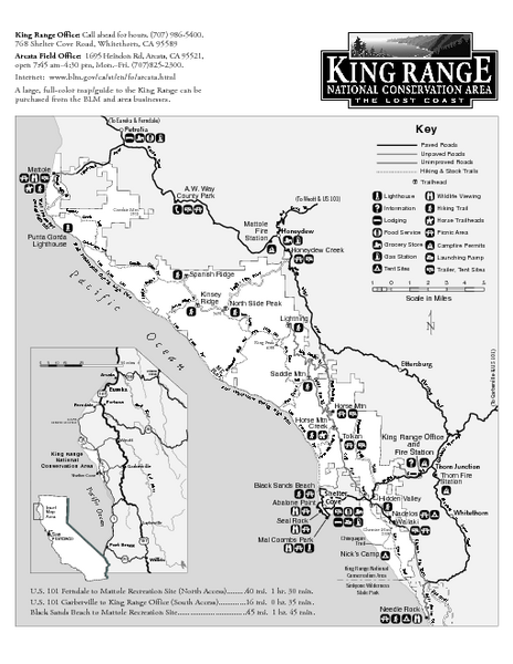 King Range National Conservation Area Trail Map
