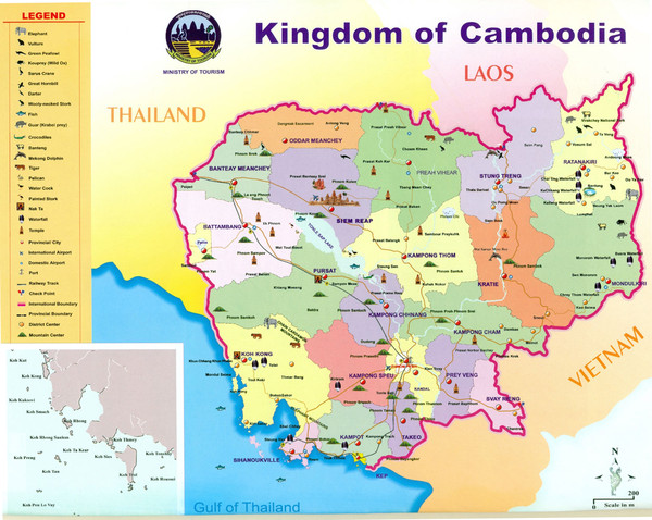 real life map collection mappery – Cambodia Tourist Attractions Map