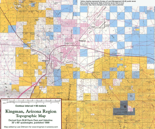 Kingman, Arizona Region Topographic Map