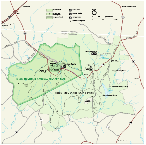 Kings Mountain National Military Park Official Map