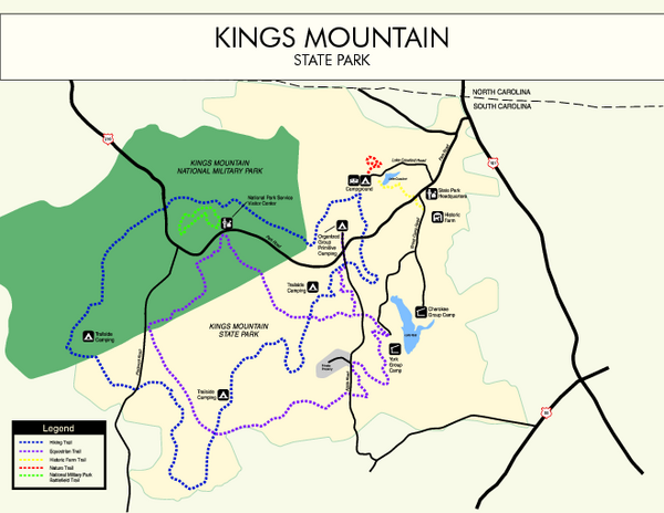 Kings Mountain State Park Map Kings Mountain State Park SC USA