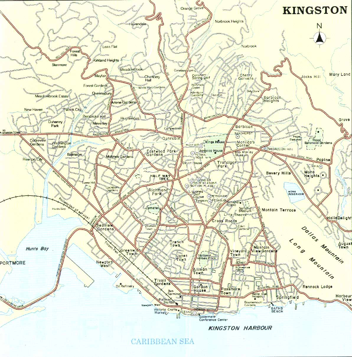Kingston Street Map Kingston Jamaica mappery