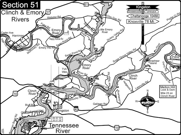 Kingston, TN Tennessee River/Clinch River/Emory River Map