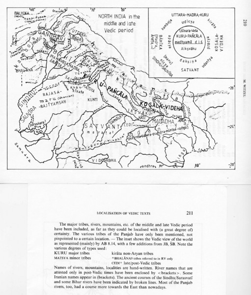 Kirata (Nepal) and North India in the middle and late Vedic period Map