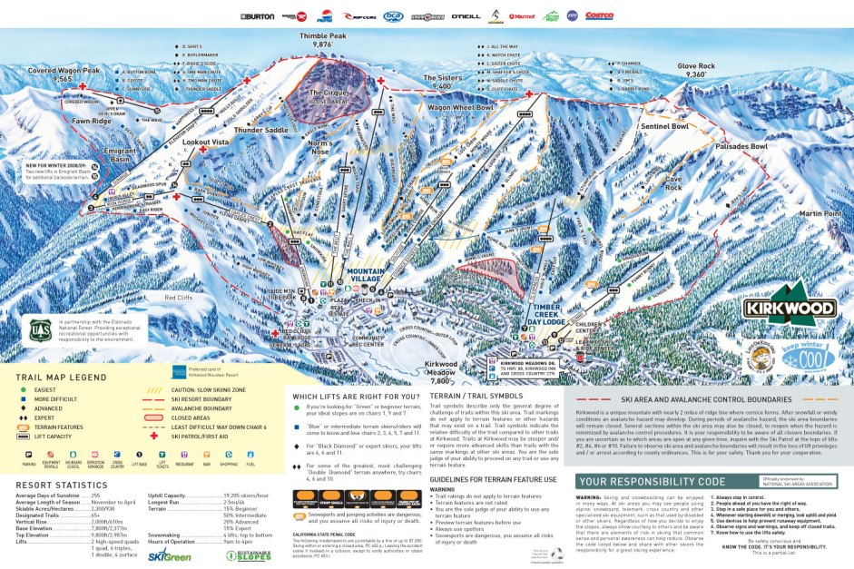 Kirkwood Ski Trail Map  Kirkwood California United States