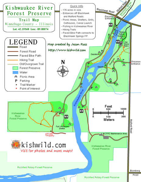Kishwaukee River Forest Preserve Map