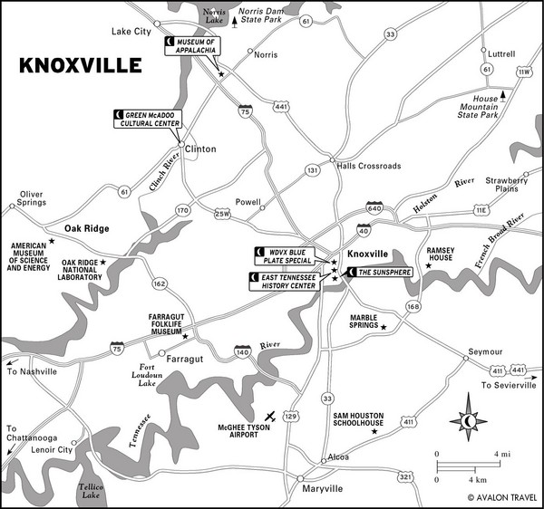 Knoxville TN Tourist Map Knoxville Tennessee mappery