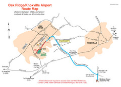 Knoxville and Oakridge Airports Map