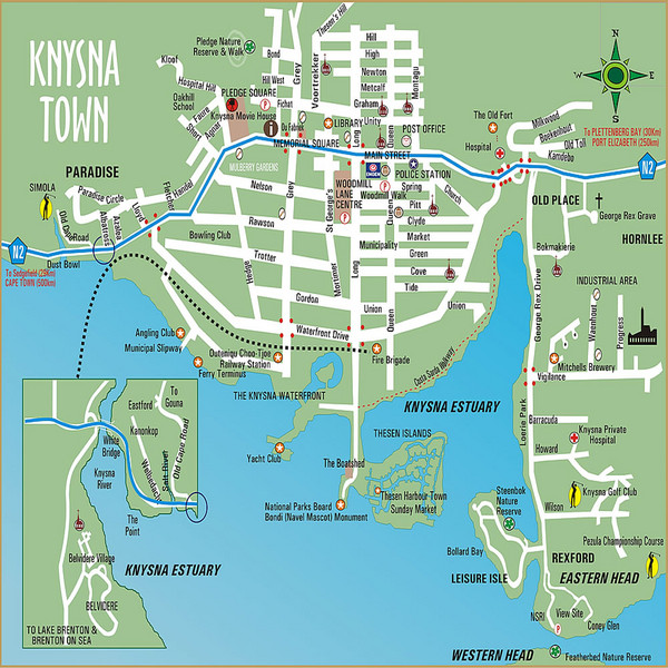 Knysna Town Map Knysna South Africa mappery