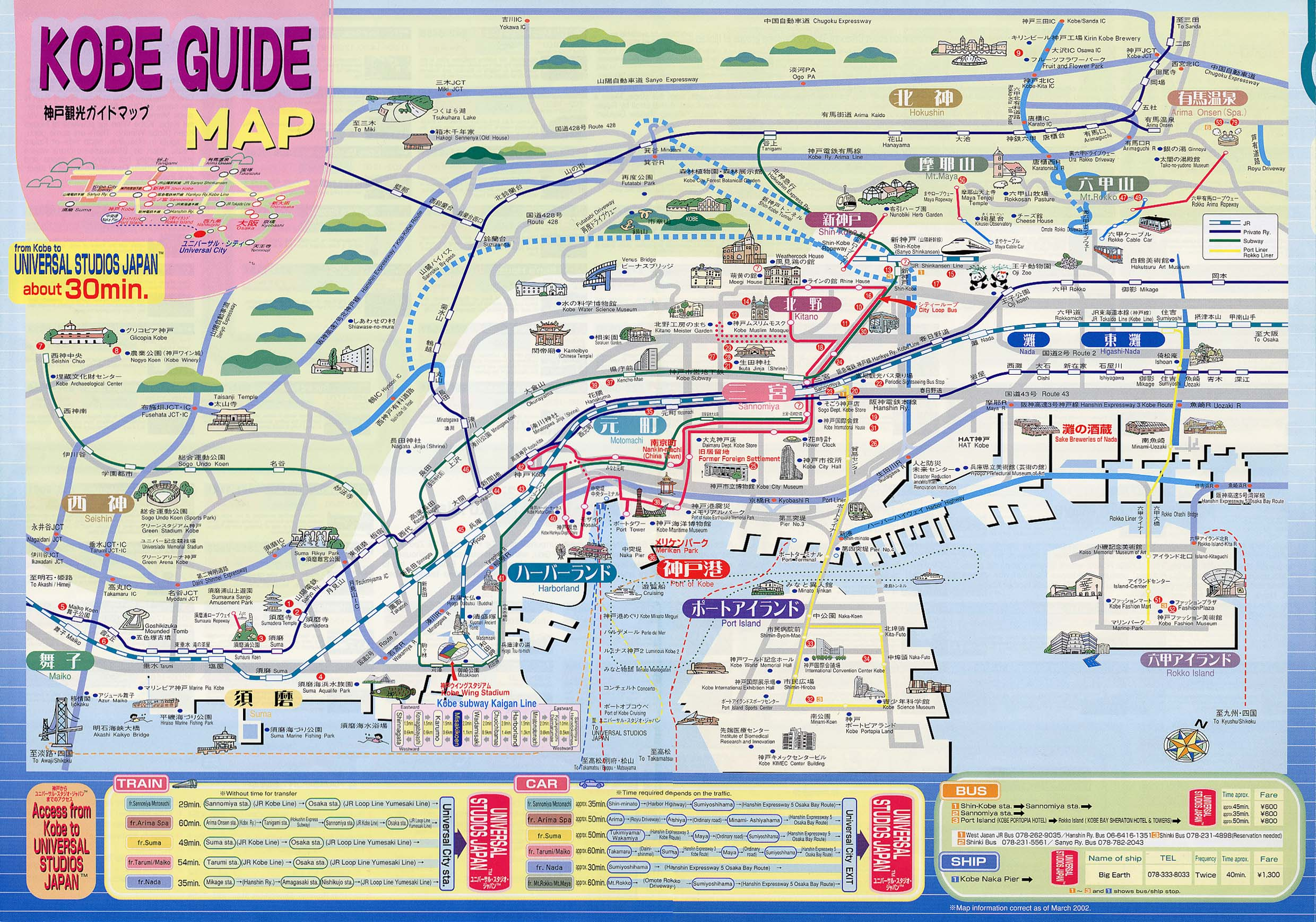 Kobe Tourist Map Kobe Japan mappery