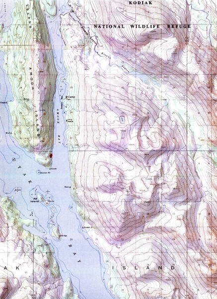 Kodiak Island Topo Map Kodiak Island Alaska Mappery