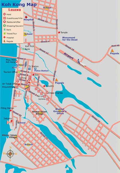 Koh Kong Cambodia City Tourist Map