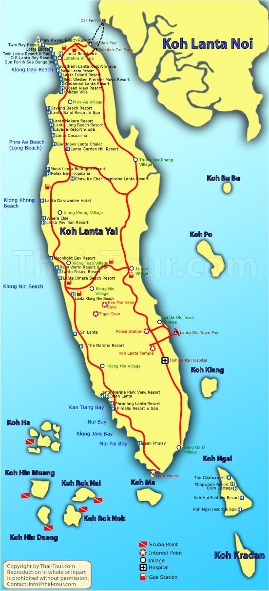 Koh Lanta Tourist Map Koh Lanta Mappery