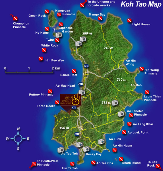 Koh Tao Tourist Map