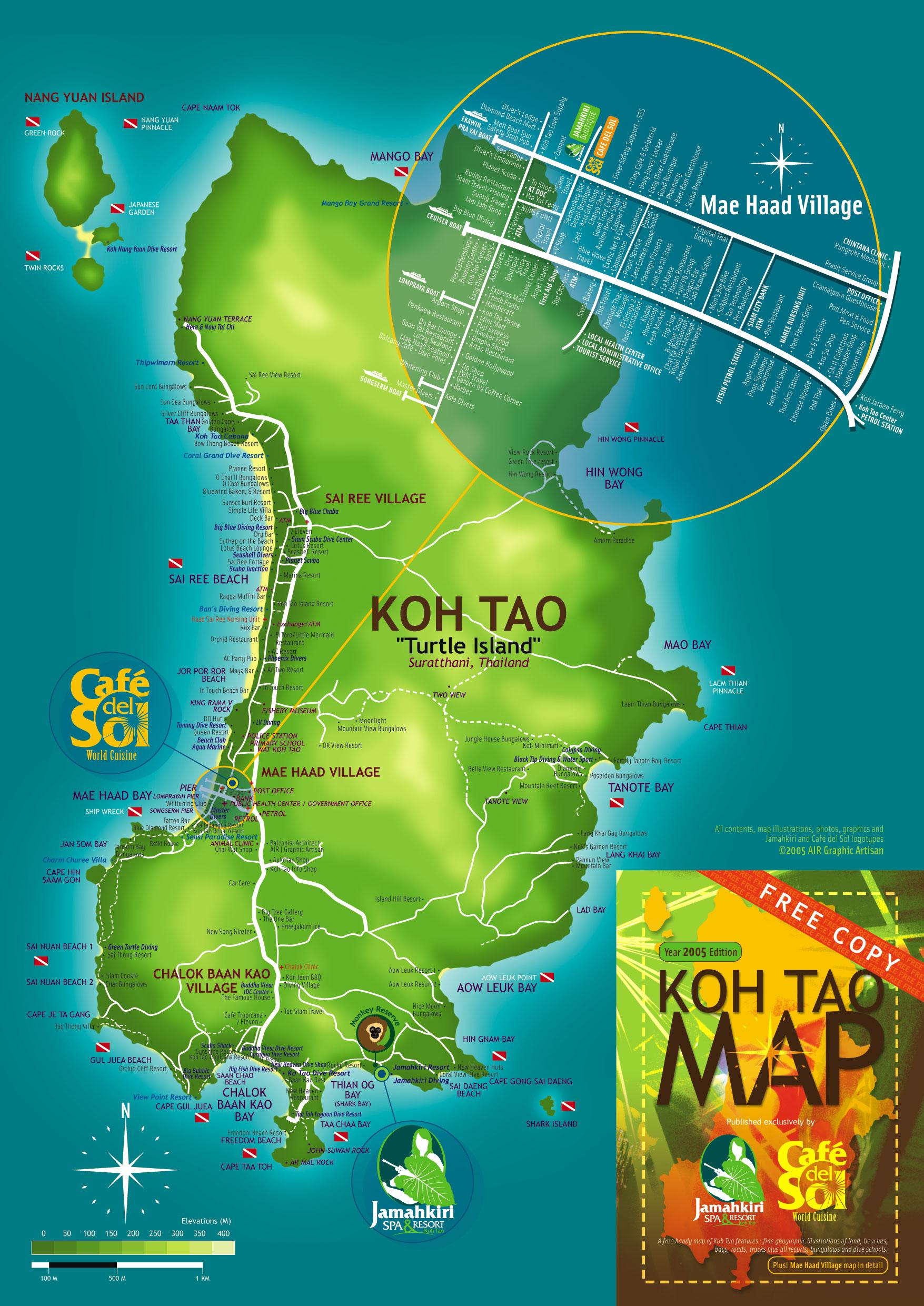Koh Tao Tourist Map Koh Tao Thailand mappery