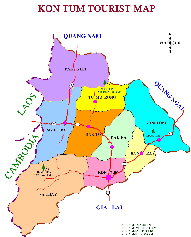 Kon Tum Road Map Kon Tum Vietnam Mappery