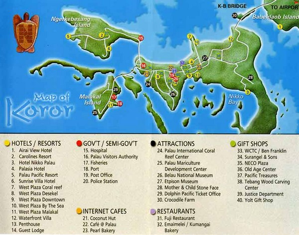 Koror Island Palau  City new picture : Koror Island Tourist Map Koror Palau • mappery