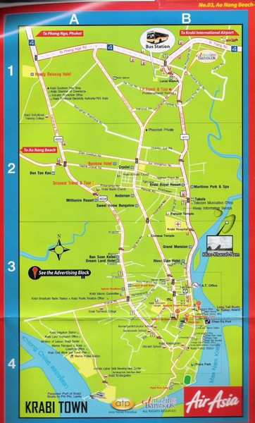 Krabi Noi Tourist Map Krabi Town mappery