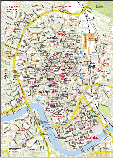 Tourist Map Krakow Krakow City Center Map