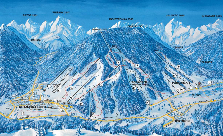 Kranjska Gora Ski Trail Map Kranjska Gora Slovenia Mappery