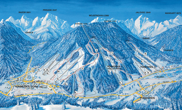Kranjska Gora Ski Trail Map