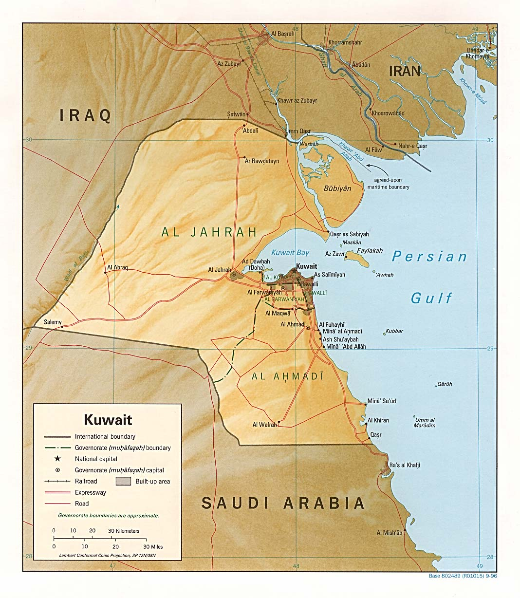 Kuwait physical Map mappery
