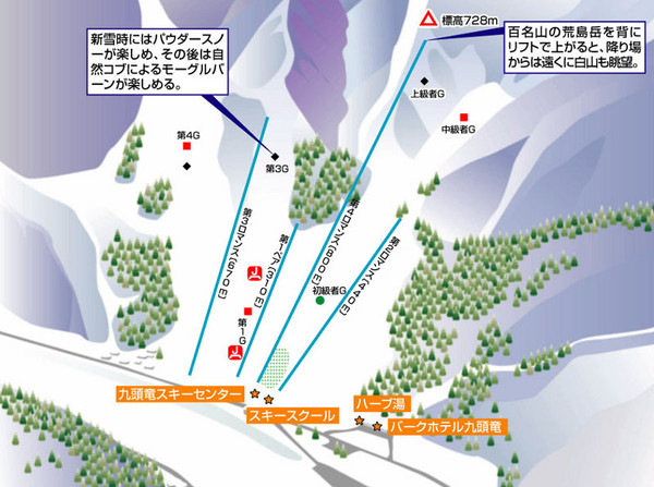Kuzuryū Ski Trail Map