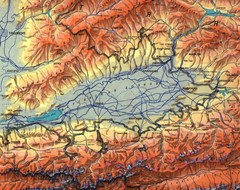 Kyrgyzstan Elevation Shaded Map