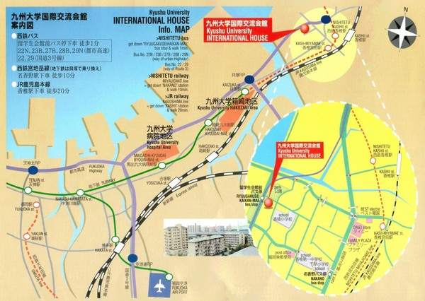 Kyushu University International House Information Map (Japanese/English)