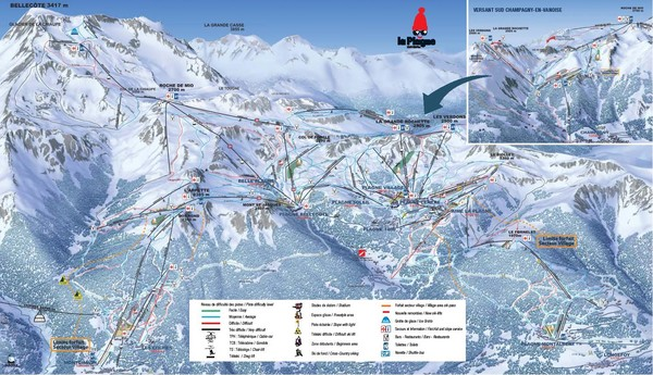 La Plagne La Plagne and Champagny-En-Vanoise Ski Trail Map