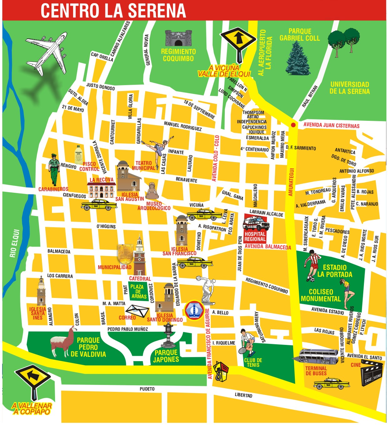 La Serena Center Tourist Map - La Serena Chile • mappery on old map of chile, easy map of chile, small map of chile, show map of chile, enlarged map of chile, pretty map of chile,