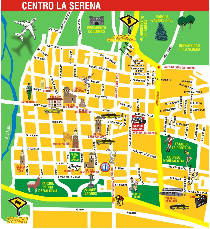 La Serena Center Tourist Map La Serena Chile Mappery