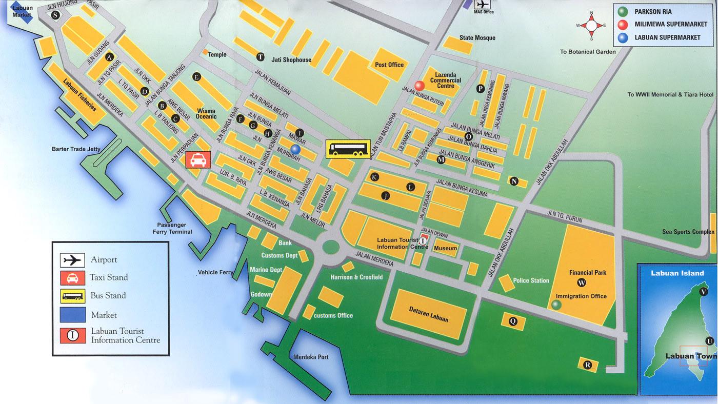 Labuan Town Tourist map Labaun Malaysia mappery