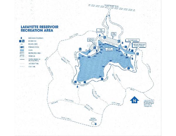 Lafayette Reservoir Recreation Area Map Lafayette Reservoir