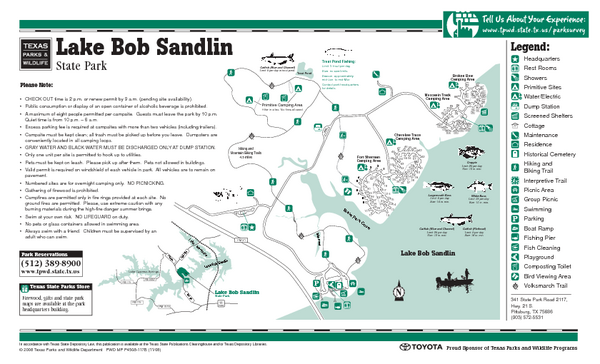 Lake Bob Sandlin, Texas State Park Facility, Trail and Location Map