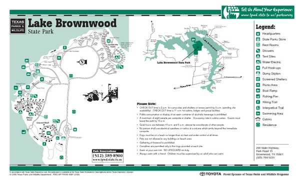 Lake Brownwood, Texas State Park Facility, Location and Trail Map