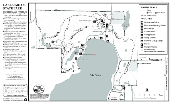 Lake Carlos State Park Winter Map