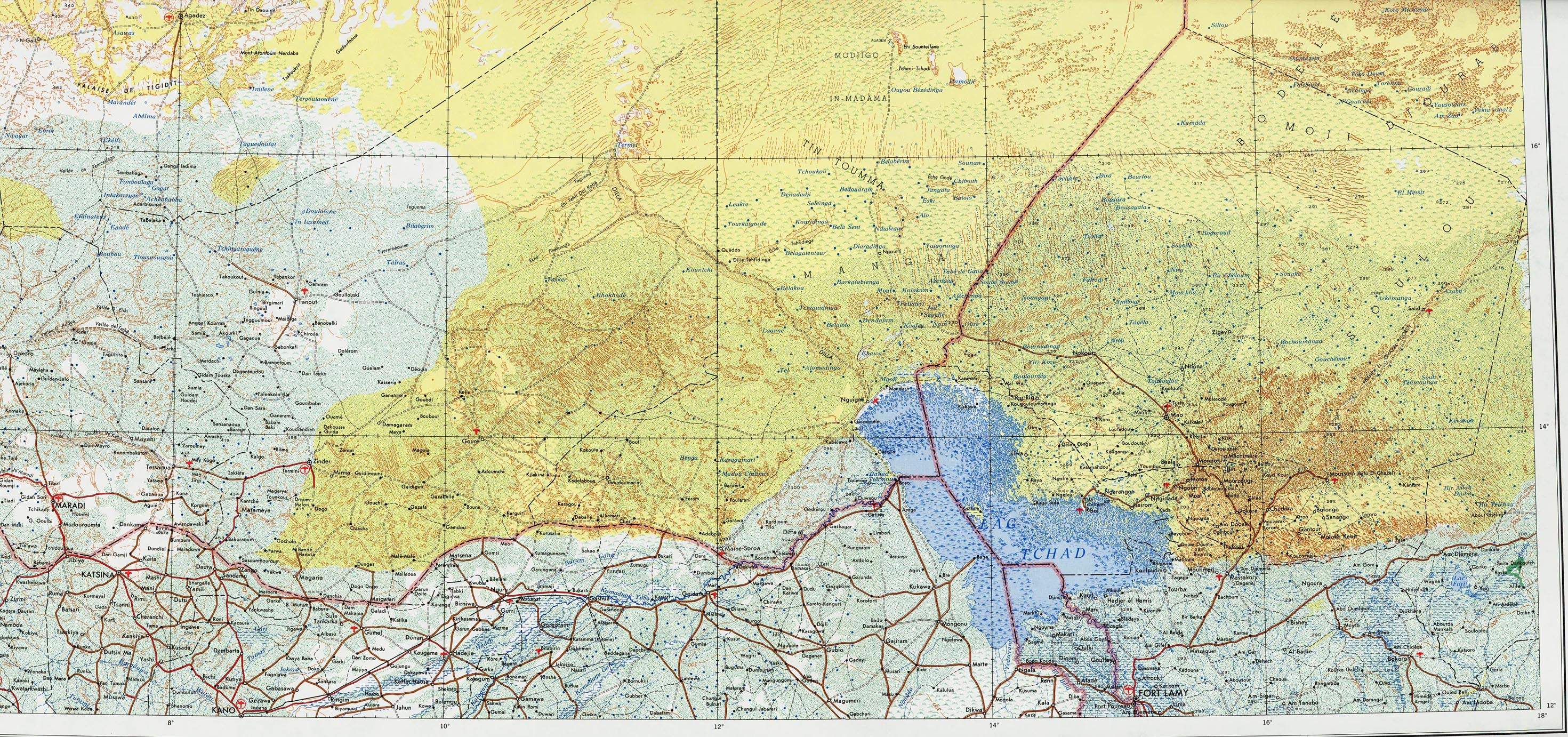 Lake Chad and Eastern Niger Physical Map Lake Chad mappery