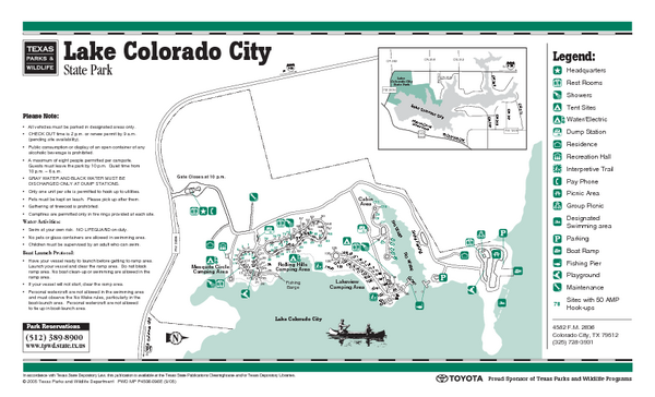 Lake Colorado City, Texas State Park Facility, Trail and Location Map
