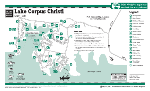 Lake Corpus Christi Texas State Park Facility Map Lake Corpus – Corpus Christi Tourist Attractions Map