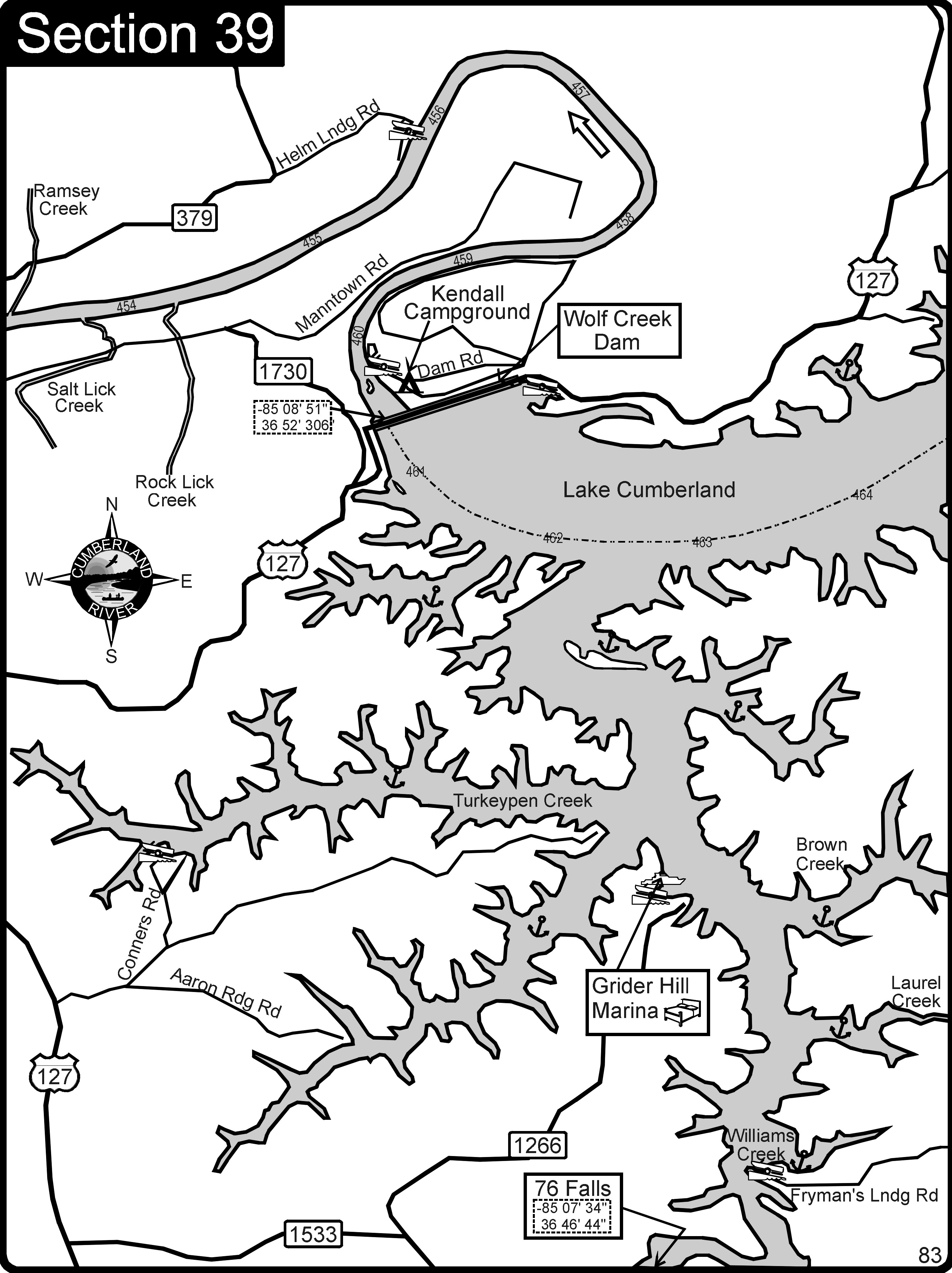 Lake Cumberland-Cumberland River Map - Lake Cumberland • mappery