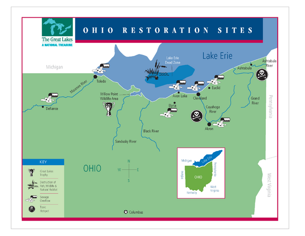 Lake Erie Restoration Sites Map