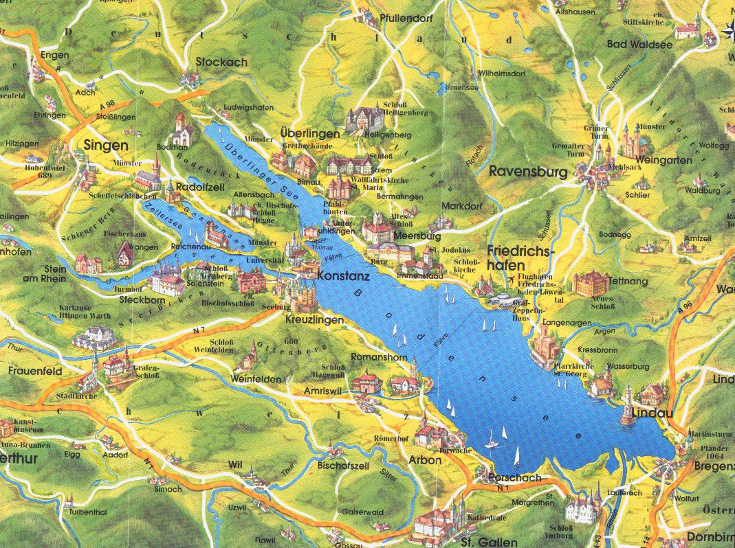 Lake Konstanz Map Konstanz Germany Mappery - Germany map konstanz