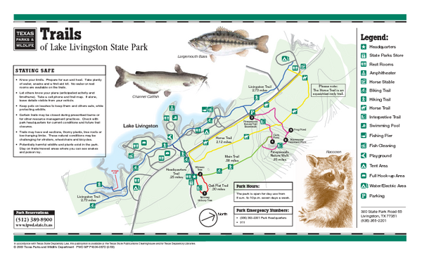 Lake Livingston Texas State Park Trail Map Lake