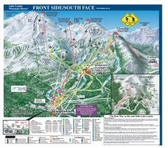 Lake Louise Ski Trail map - Front side/south face...